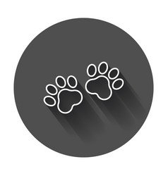 paw print icon in line style dog or cat pawprint vector image
