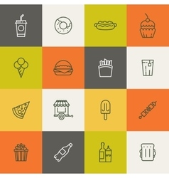 Take away food linear icons vector image vector image