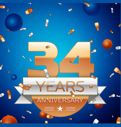 thirty four years anniversary celebration design vector image