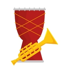 Trumpet and drum instrument isolated icon vector