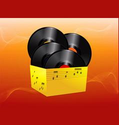 Vinyl records in a yellow box vector
