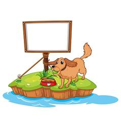 A dog near an empty board vector image vector image