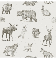 Animals drawings seamless pattern vector image