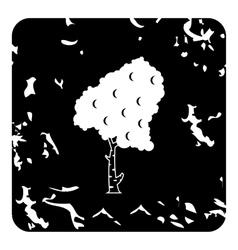 Birch tree icon grunge style vector
