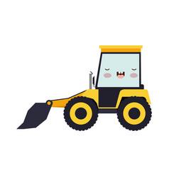 bulldozer flat icon colorful kawaii silhouette vector image