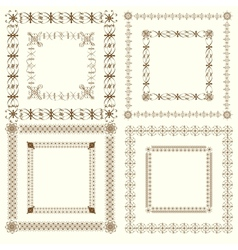 Collection of vintage calligraphic square frames vector image vector image