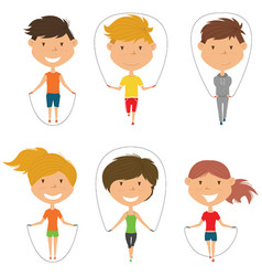 cute boys and girls skipping rope set vector image vector image