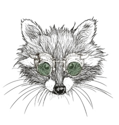 hand drawn raccoon steampunk vector image vector image