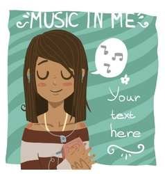 Music in me postcard vector image vector image