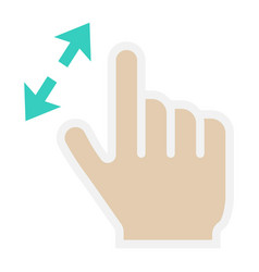 2 finger zoom in flat icon touch and gesture vector