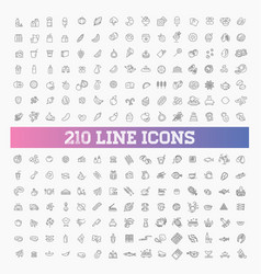 210 food and drink thin icon set vector