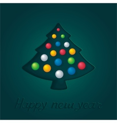 Abstract green fir-tree with christmas toys vector