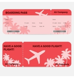 Airline boarding pass Red ticket isolated on vector image