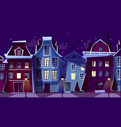 Amsterdam night cityscape cartoon vector