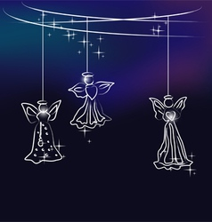Angels christmas tree decoration vector