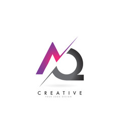 Aq a logo with colorblock design vector
