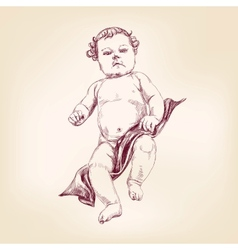 Baby in diapers hand drawn vector