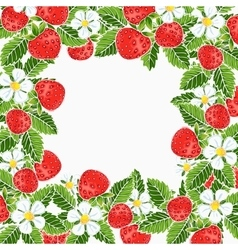 Beautiful strawberries frame vector
