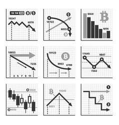 Bitcoin falling down chart graphics set vector