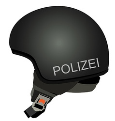 Black police helmet with text police vector