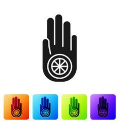 Black symbol jainism or jain dharma icon vector