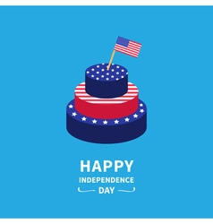 Cake and flag Independence day 4 of July vector