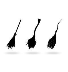 cartoon silhouette black brooms icon row set vector image
