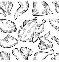 chicken cuts hen parts vector image