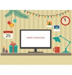 Christmas Santas desktop flat design vector image