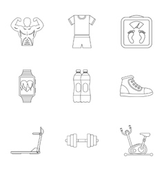 Classes in gym icons set outline style vector image