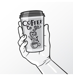 Coffee To Go Cup In Hand Composition vector image