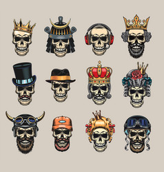 Colored skulls flat badge set vector