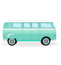 colorful retro travel bus cartoon hippie van vector image