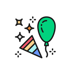 Confetti party popper with balloon flat color line vector