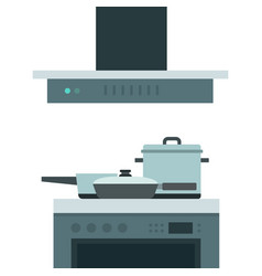 cooking hob with extractor fan flat isolated vector image