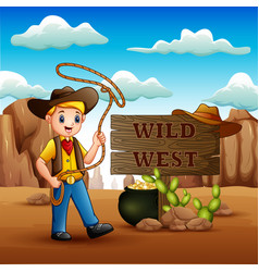 cowboy twirling a lasso in wild west background vector image