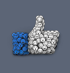 creative like icon made of many small smiles vector image