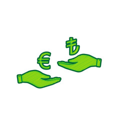 currency exchange from hand to hand euro and lira vector image