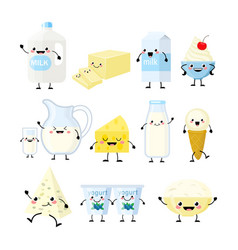 cute cartoon dairy products characters vector image