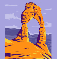 Delicate arch freestanding natural arch in arches vector