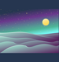 desert night landscape dunes stars and full moon vector image