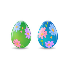 easter eggs decorated with flowers vector image