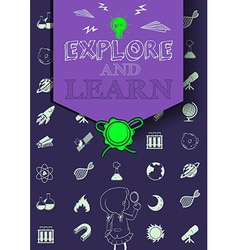 Education poster with symbols and text vector image