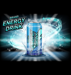 Energy drink label ads with ice cubes on dark vector