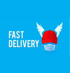 fast delivery rad cap delivery man with wings vector image