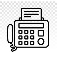 Fax machine line art icons on a transparent vector