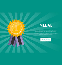 first place shiny golden medal with ribbon vector image