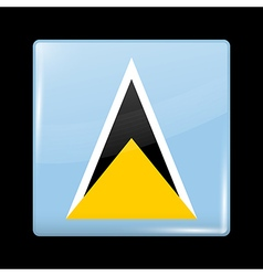 Flag of Saint Lucia Glossy Icon Square Shape vector image