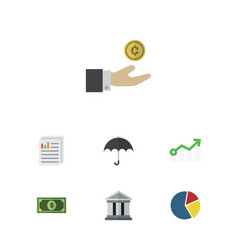 Flat icon finance set of bank graph document and vector