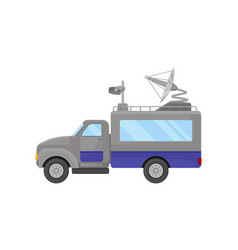 Flat icon of television broadcasting truck vector